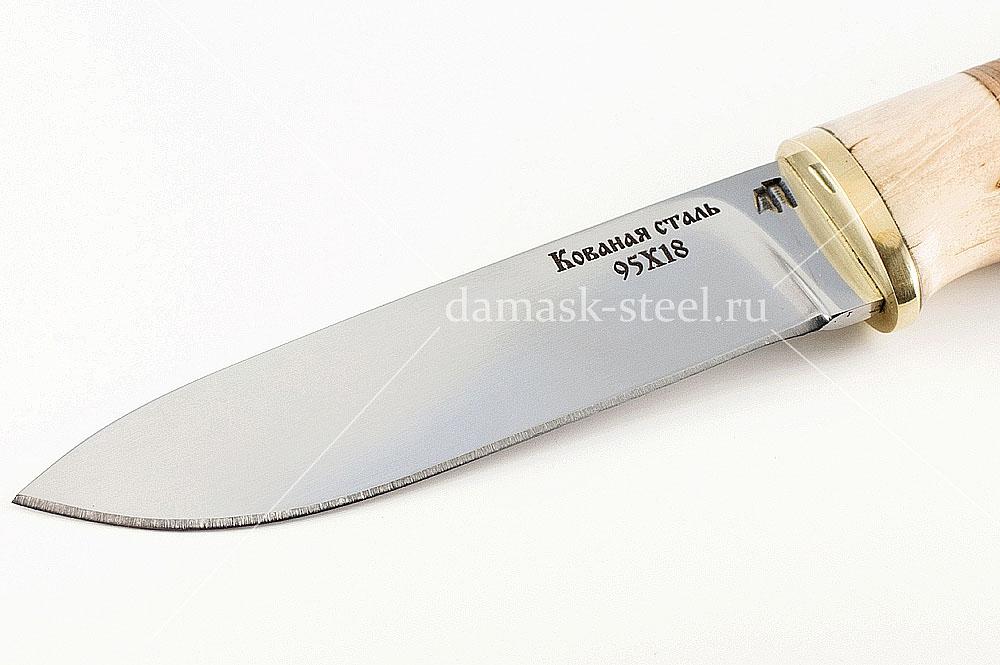 Нож Ласка кованая сталь 95х18 карельская берёза