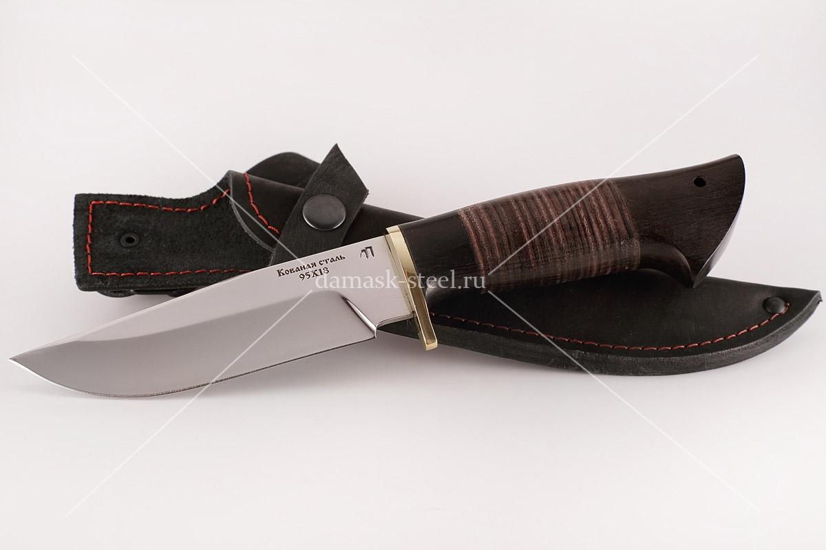Нож Барсук-1 кованая сталь 95х18 дерево граб и кожа