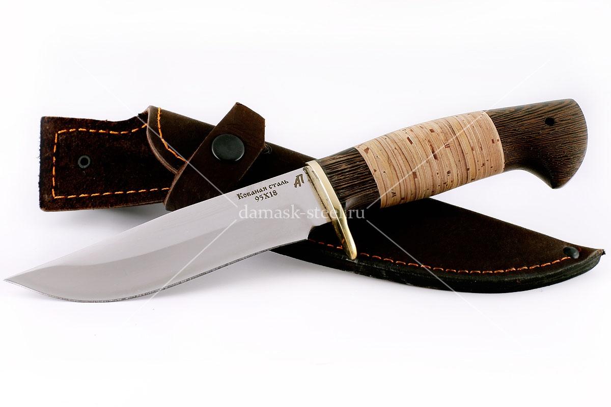 Нож Охотник кованая сталь 95х18 венге и береста