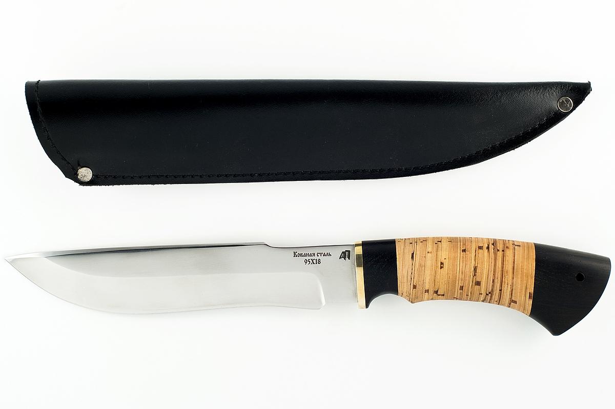 Нож Бизон-2 кованая сталь 95х18 граб и береста