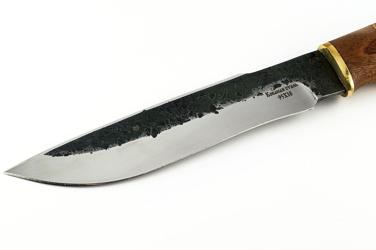 Нож Бизон-6 кованая сталь 95х18 сапеле и береста