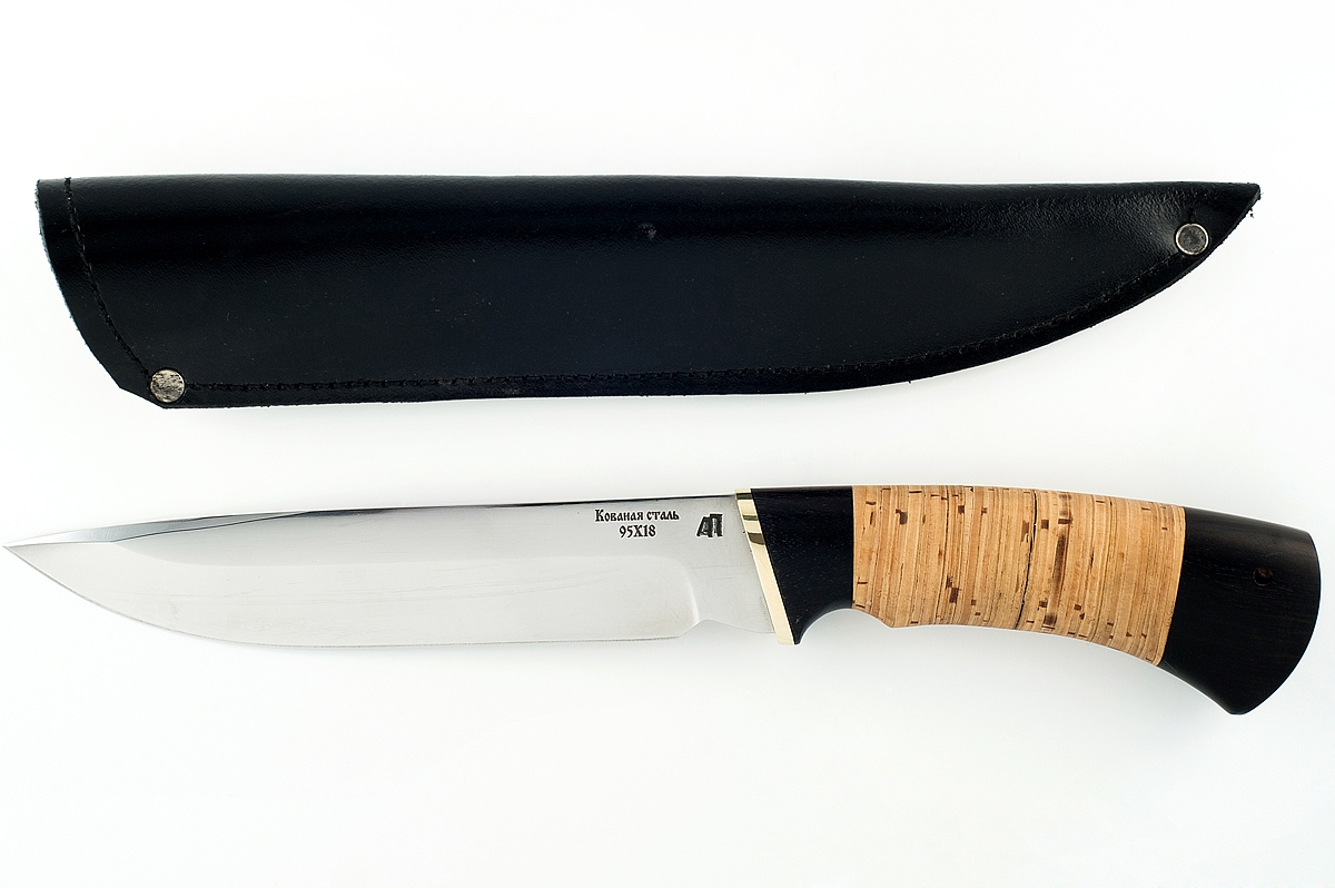 Нож Скорпион-4 кованая сталь 95х18 граб и береста