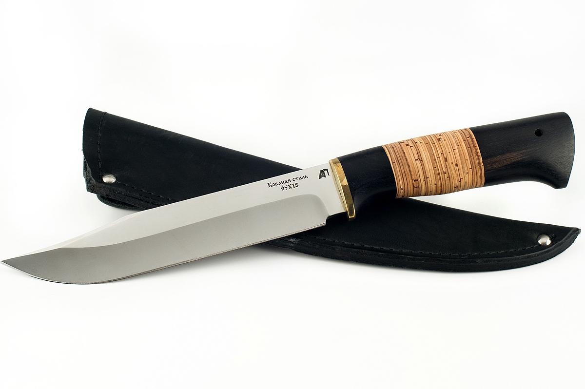 Нож Пират-3 кованая сталь 95х18 граб и береста