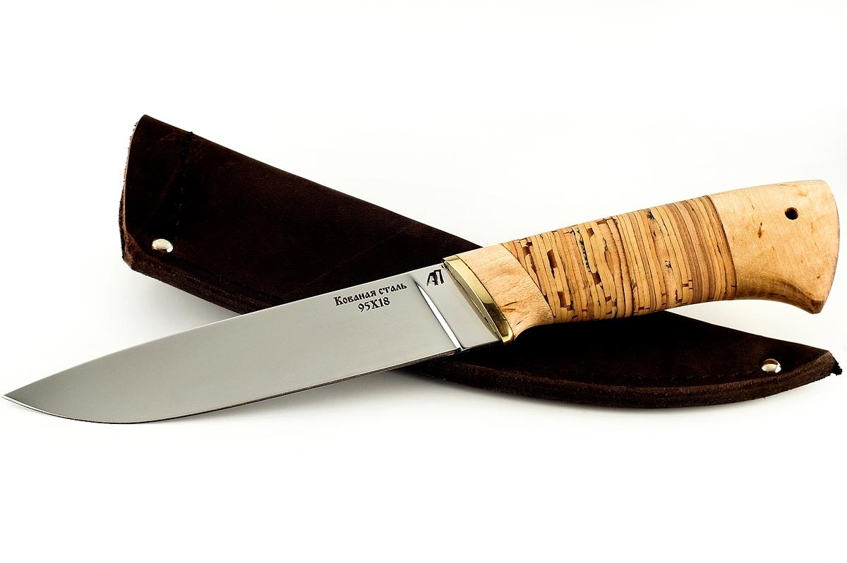 Нож Варан-5 кованая сталь 95х18 карельская берёза и береста