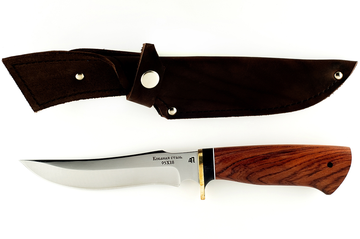 Нож Осётр-5 кованая сталь 95х18 бубинга и граб