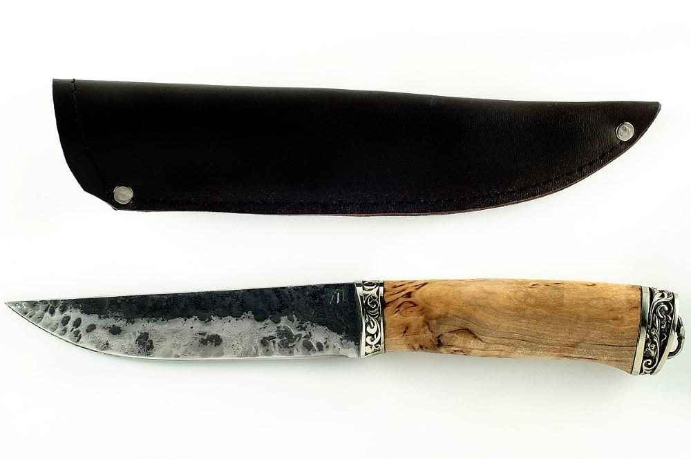 Нож Волк кованая сталь 9хс карельская берёза