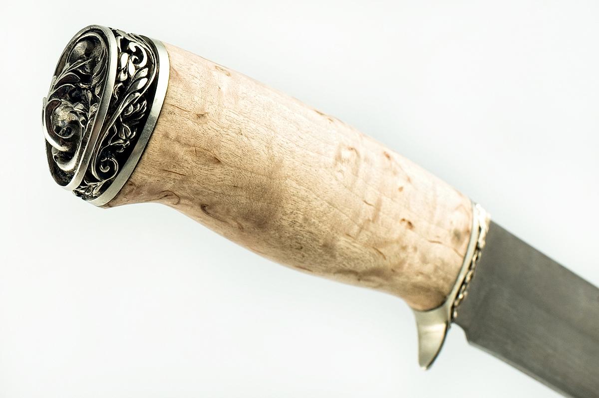 Нож Ворон-1 сталь литой булат карельская берёза