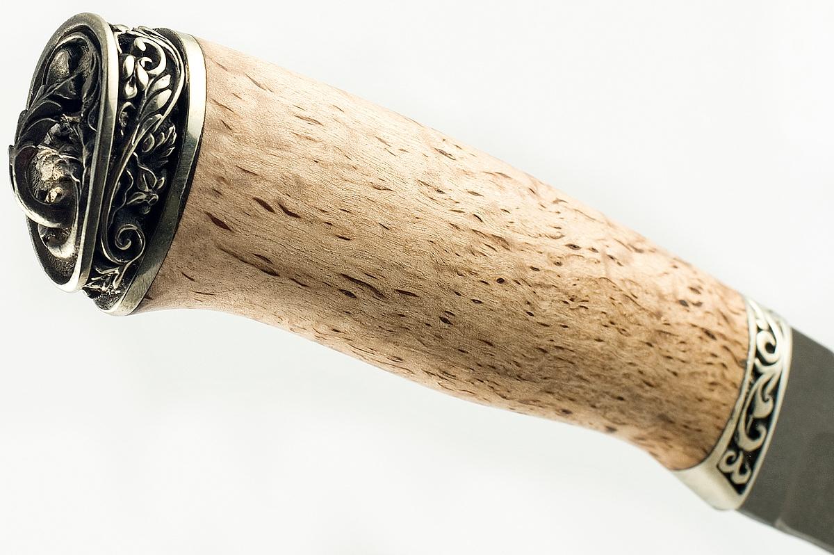 Нож Волк-9 сталь литой булат карельская берёза