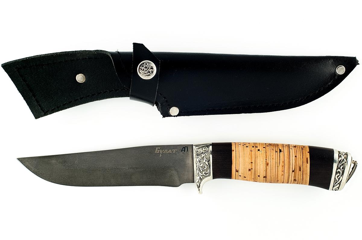 Нож Егерь-8 сталь литой булат граб и береста