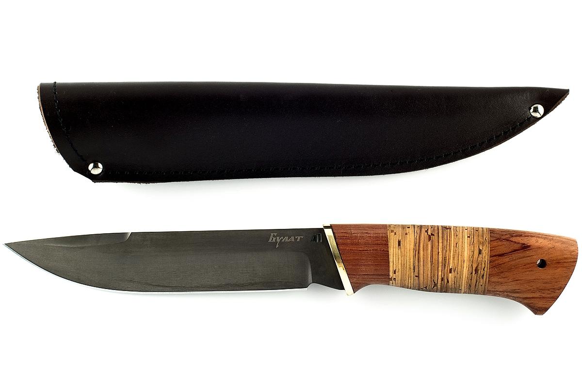 Нож Скорпион-21 сталь литой булат бубинга и береста