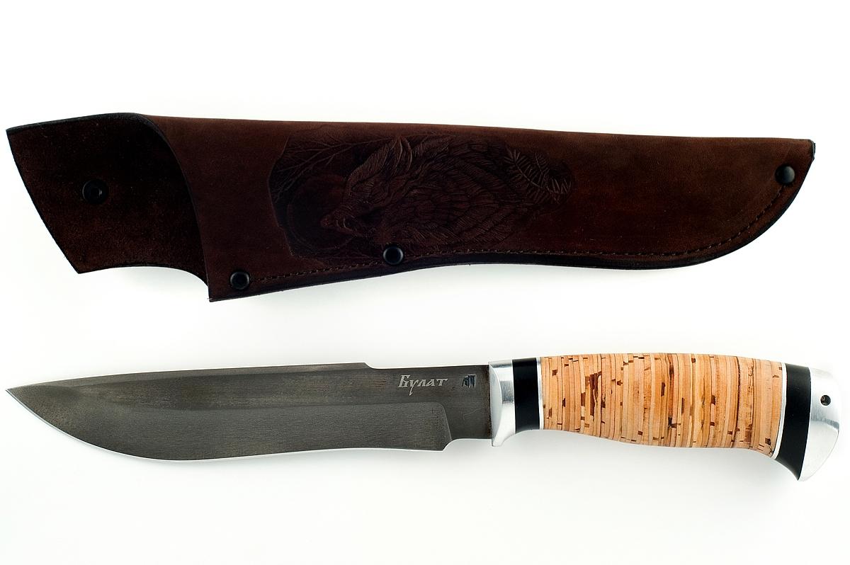 Нож Бизон-19 сталь литой булат береста