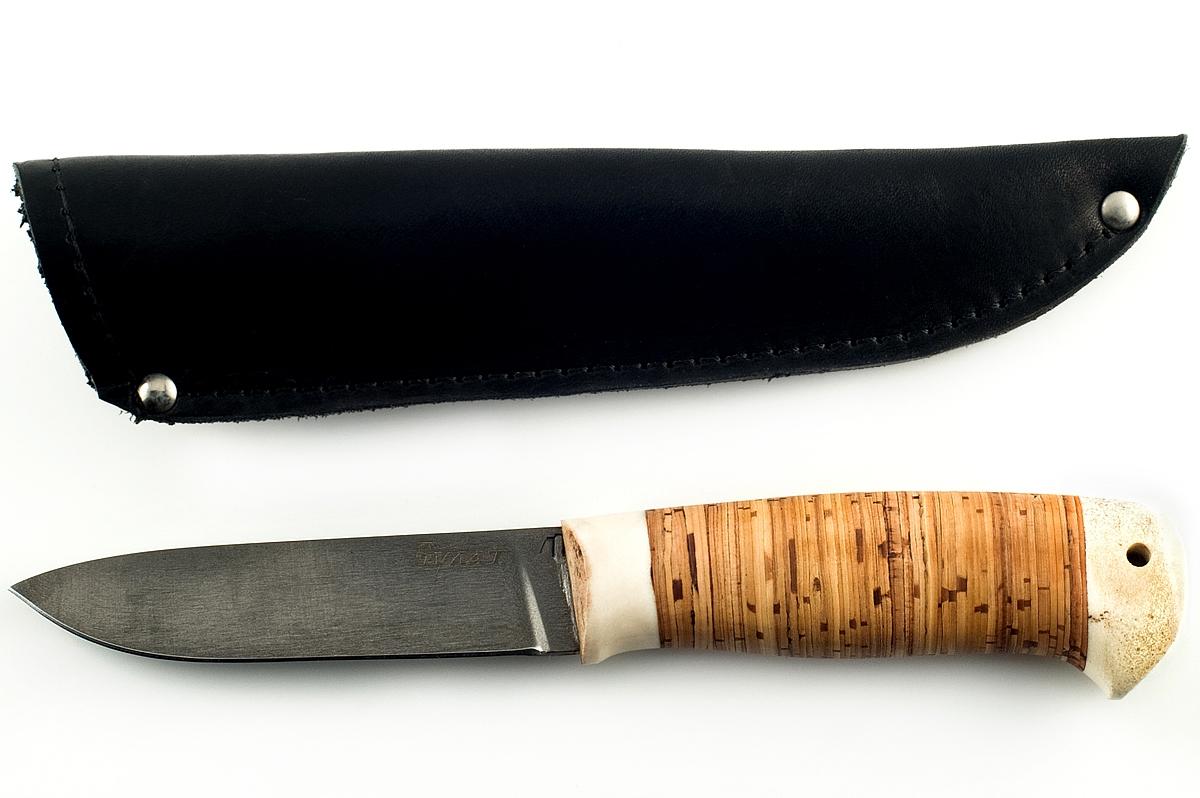 Нож Ласка-8 сталь литой булат береста и лосиный рог