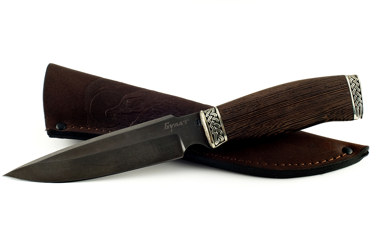 Нож Медведь сталь литой булат венге