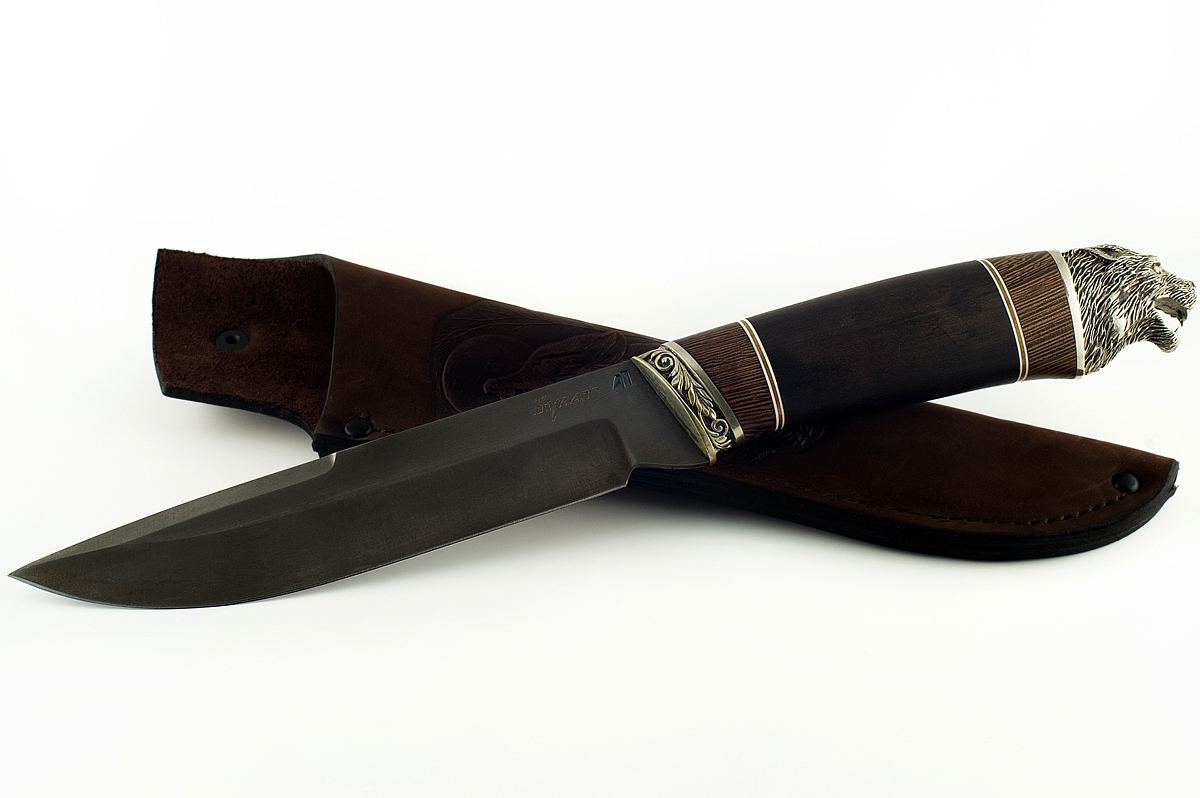 Нож Скорпион-23 сталь литой булат граб и венге (голова)