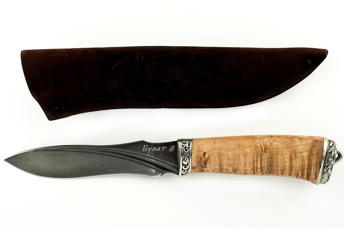Нож Смерч сталь литой булат карельская берёза
