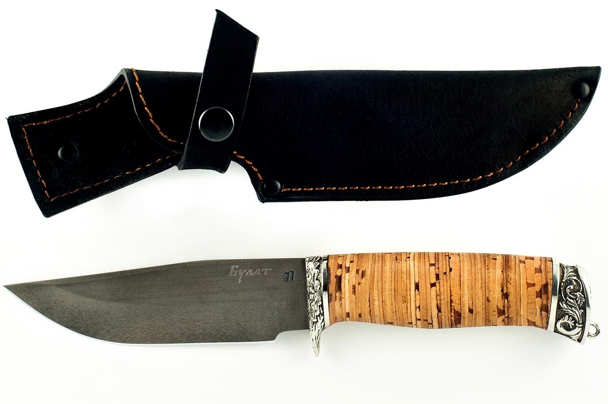 Нож Барсук-8 сталь литой булат береста