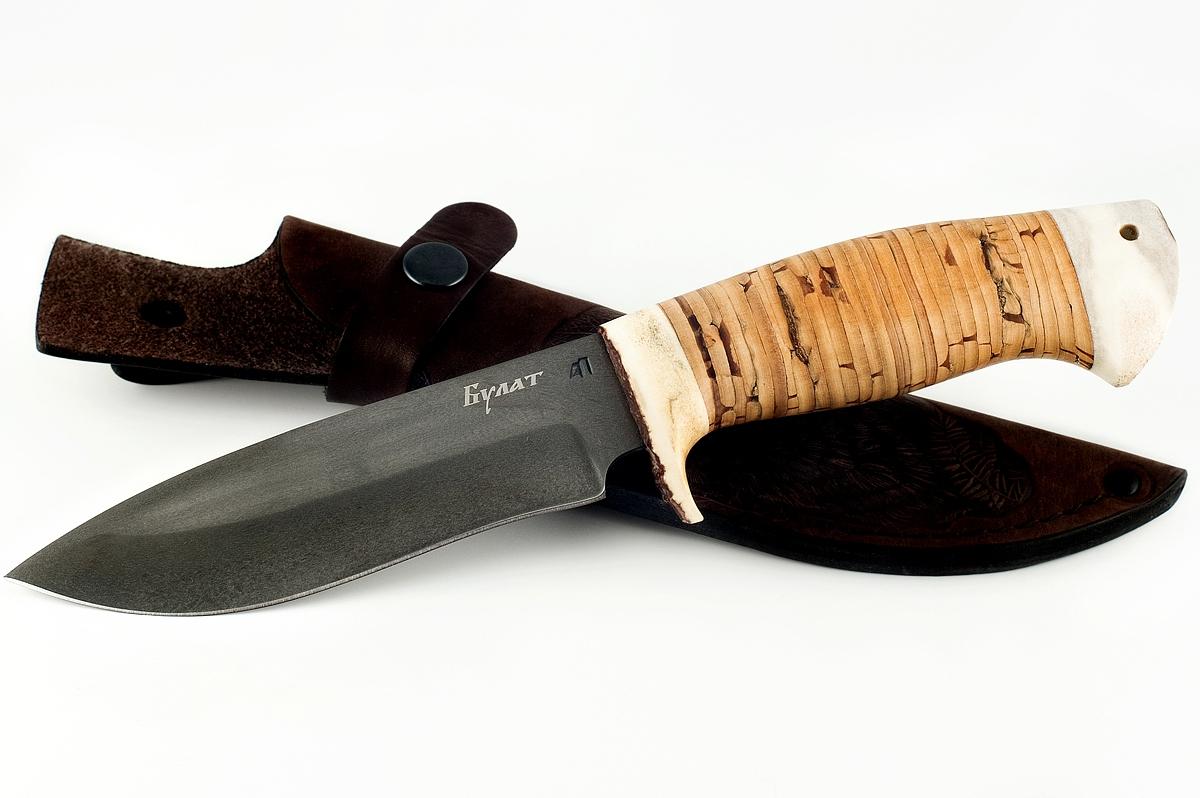 Нож Зубр-4 сталь литой булат кость и береста