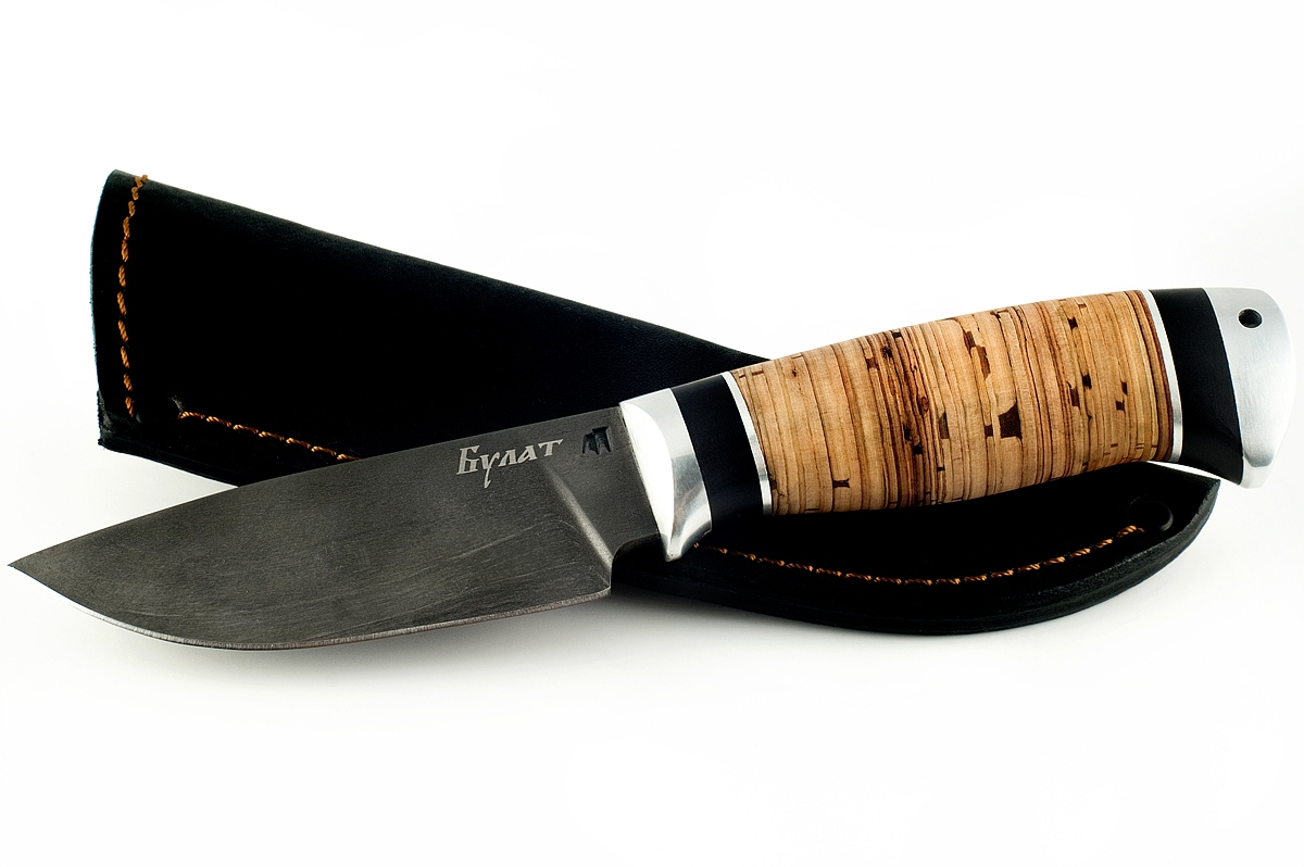Нож Рысь-3 сталь литой булат граб и береста