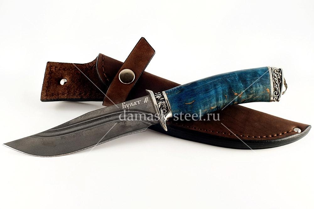 Нож Охотник-7 сталь литой булат карельская берёза