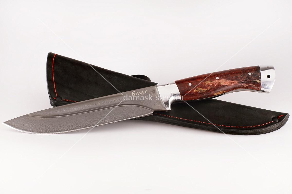Нож Скорпион-31 сталь литой булат карельская берёза цельнометаллический (долы)