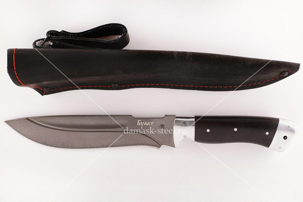 Нож Бизон-23 сталь литой булат граб цельнометаллический (долы)