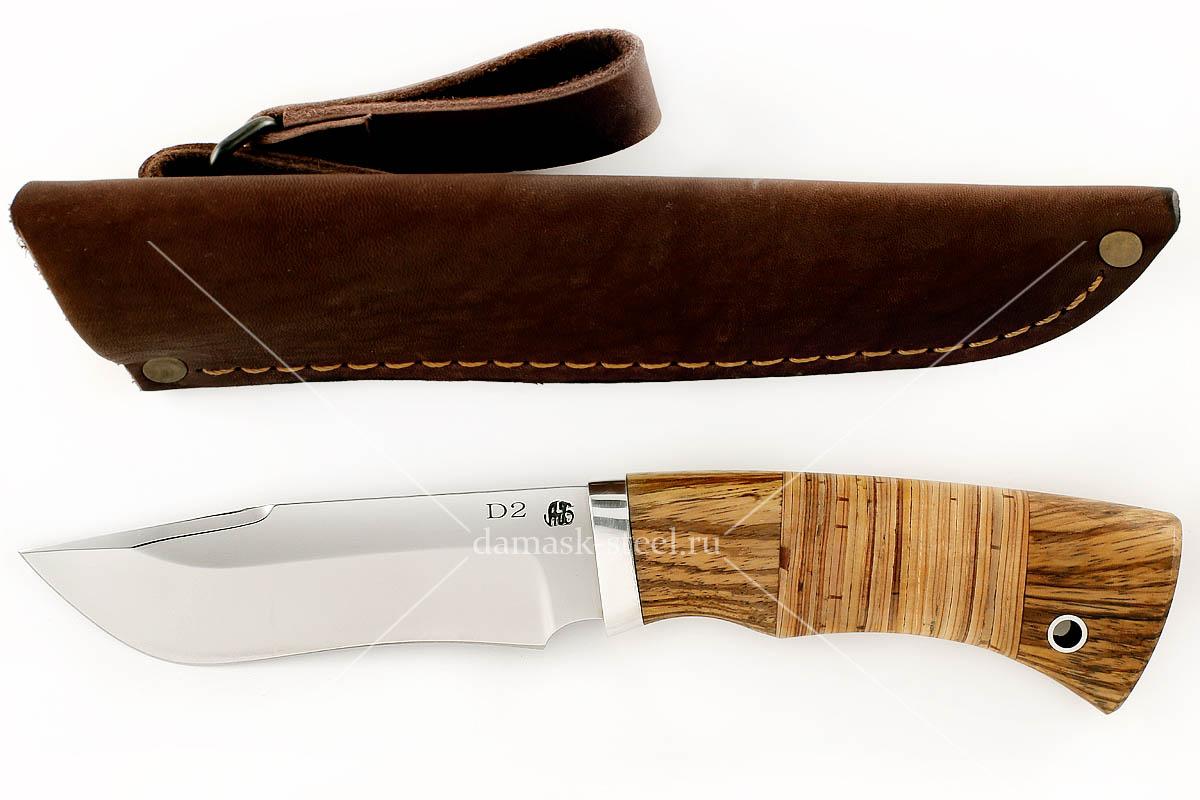 Нож Зубр(n)-1 немецкая сталь D-2 зебрано и береста