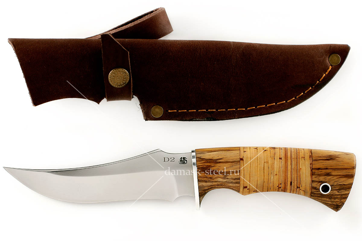 Нож Фараон(n)-1 немецкая сталь D-2 зебрано и береста