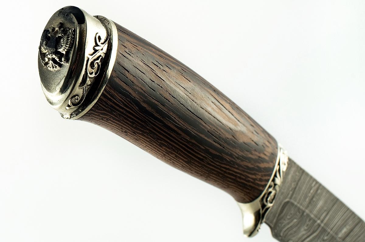 Нож Ворон сталь дамаск литьё мельхиор рукоять венге
