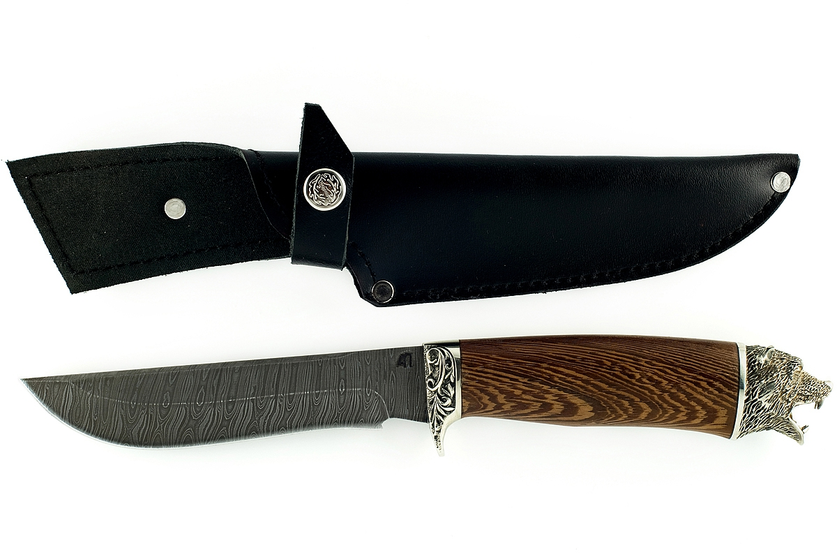 Нож Ястреб-1 сталь дамаск венге с головой