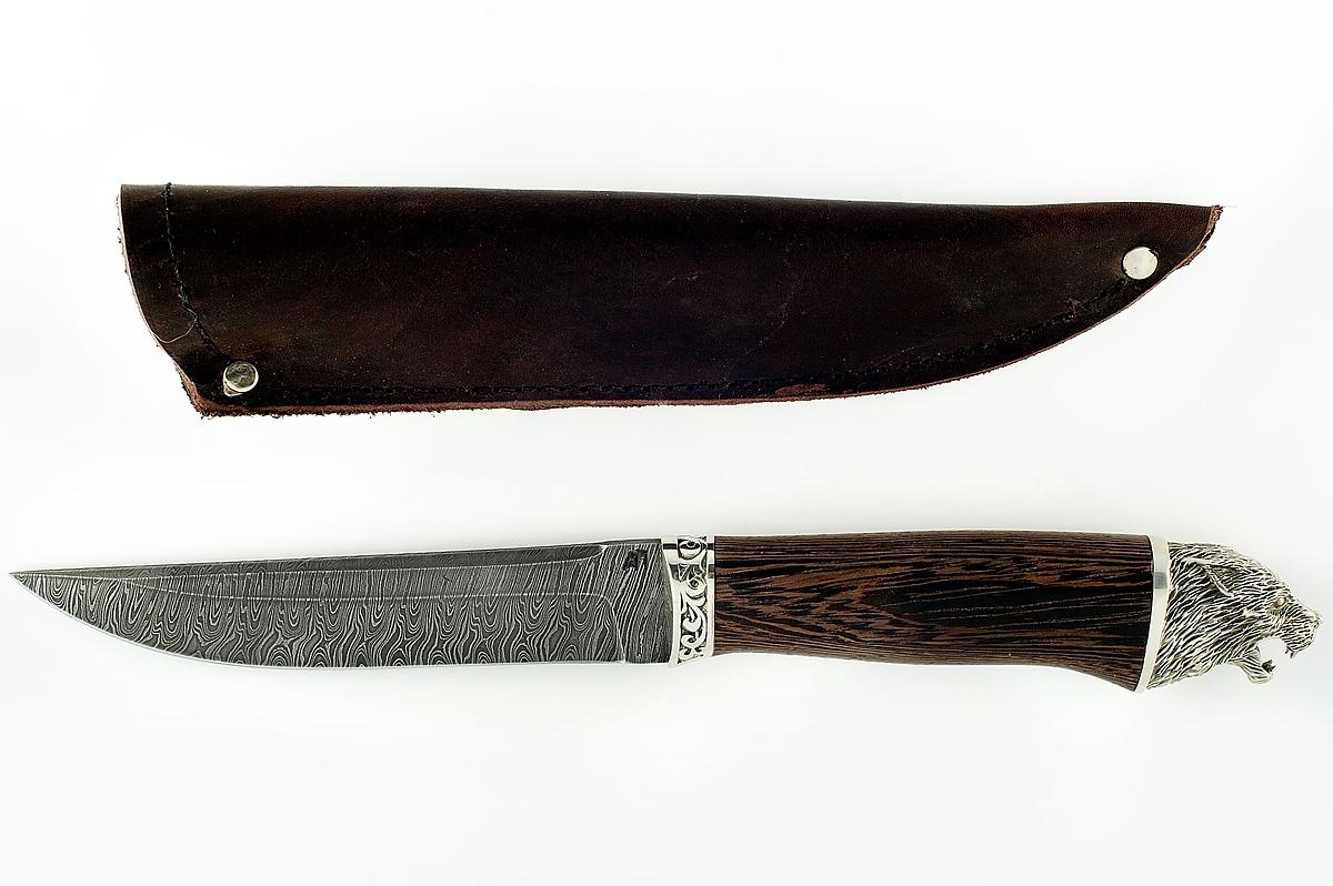 Нож Волк сталь дамаск рукоять венге с литьём мельхиор