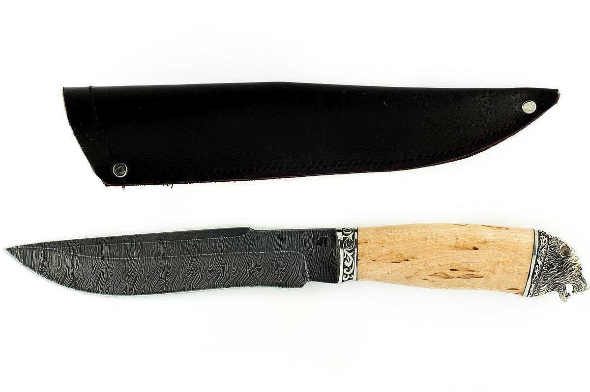 Нож Бизон-2 сталь дамаск карельская берёза