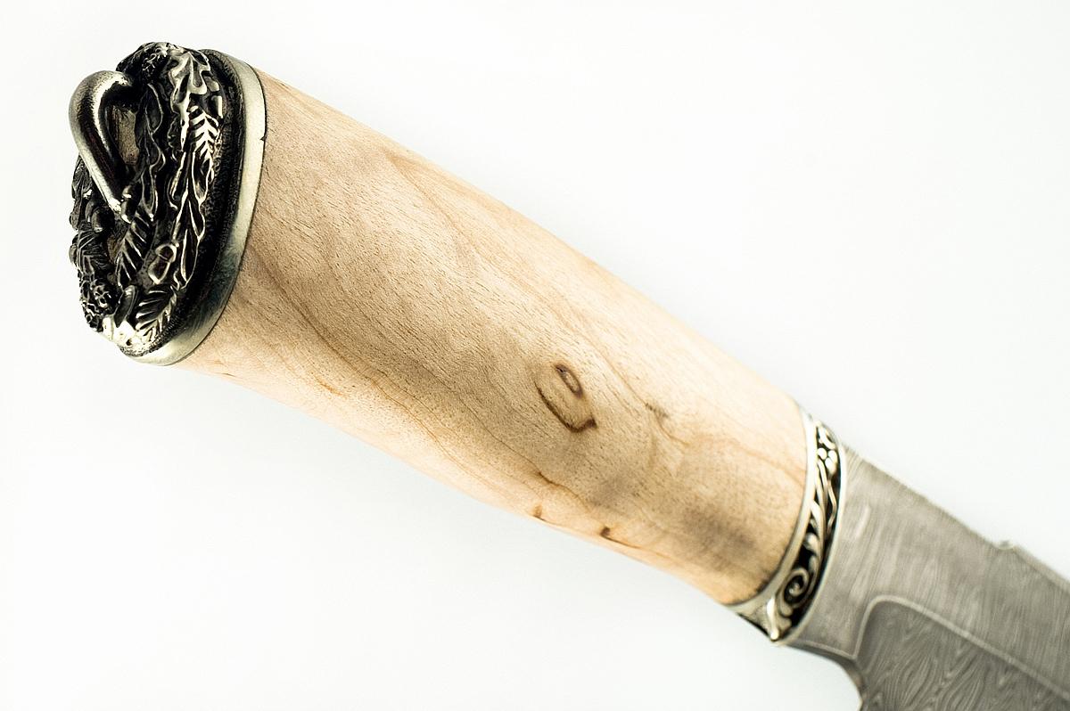 Нож Бизон-5 сталь дамаск карельская берёза