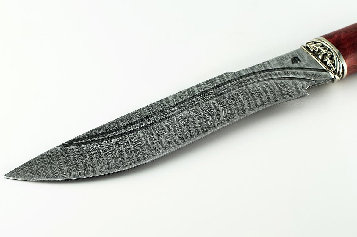 Нож Бизон-10 сталь дамаск карельская берёза долы