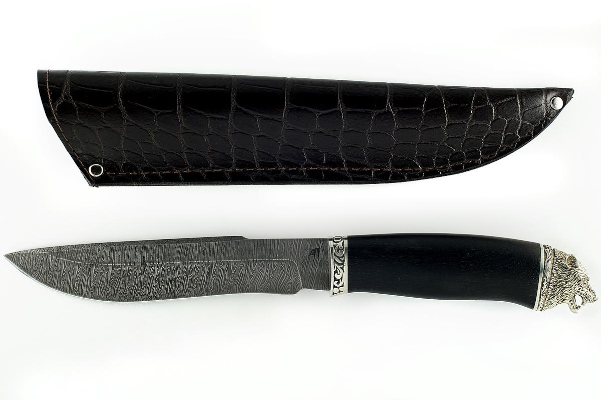 Нож Бизон-12 сталь дамаск граб голова