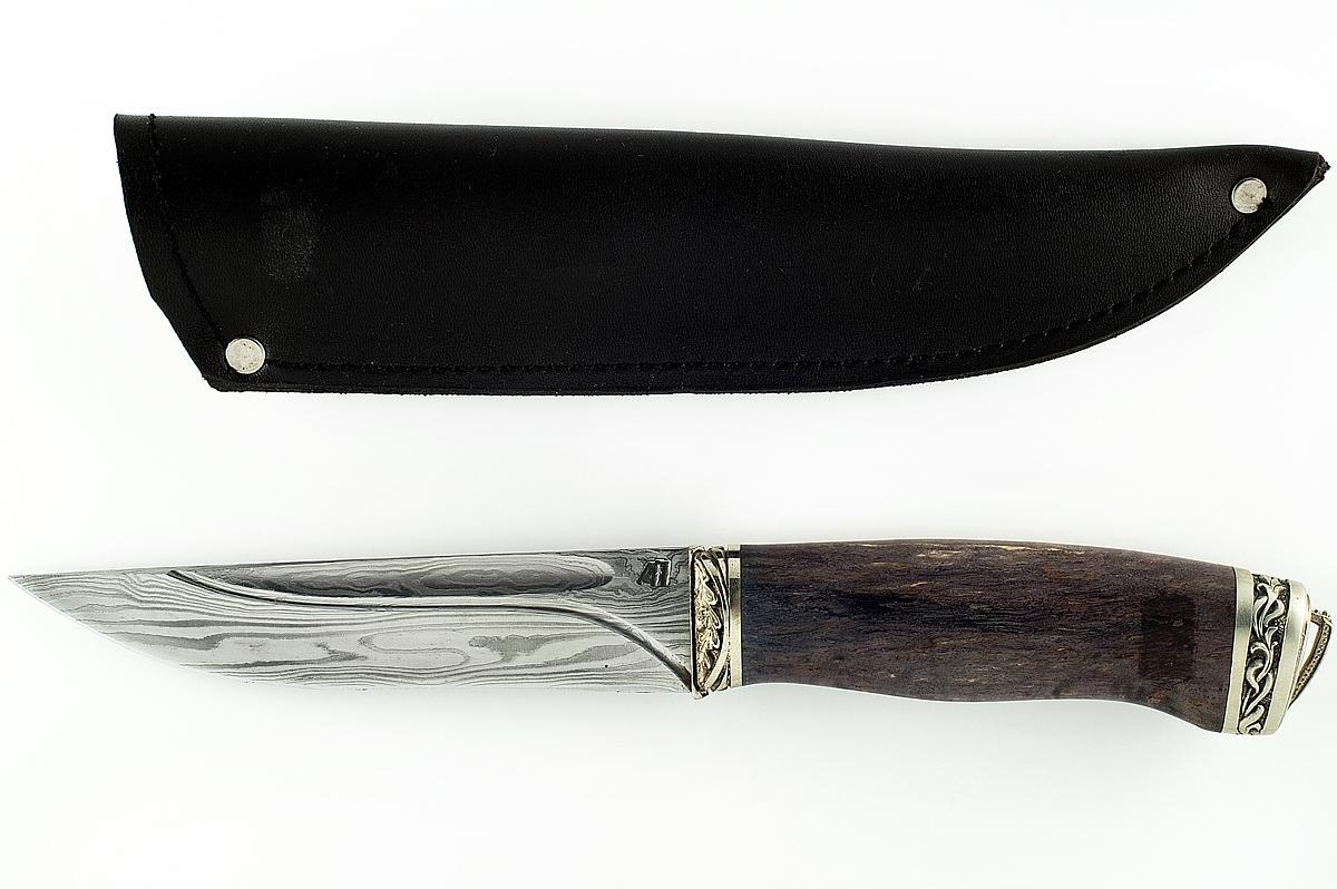 Нож Волк-3 сталь дамаск карельская берёза долы