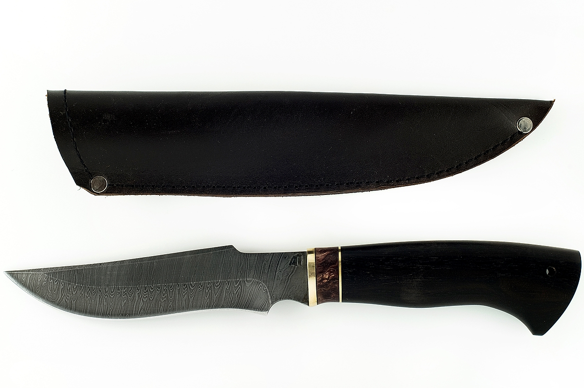Нож Клык сталь дамаск граб и карельская берёза