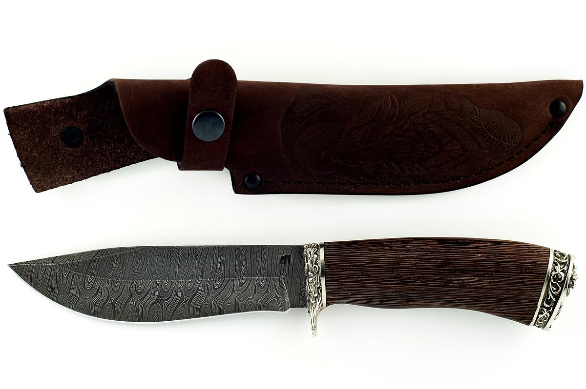 Нож Олень сталь дамаск венге