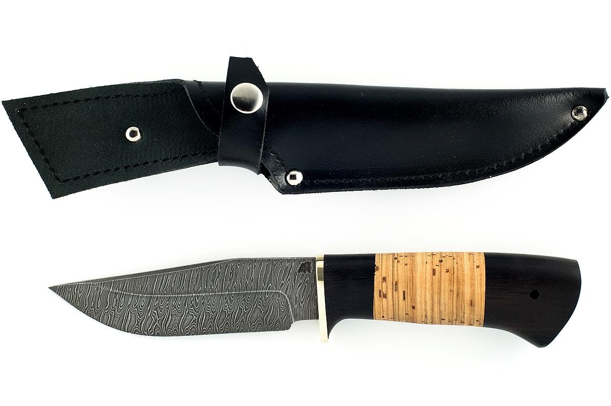 Нож Барсук-4 сталь дамаск граб и береста
