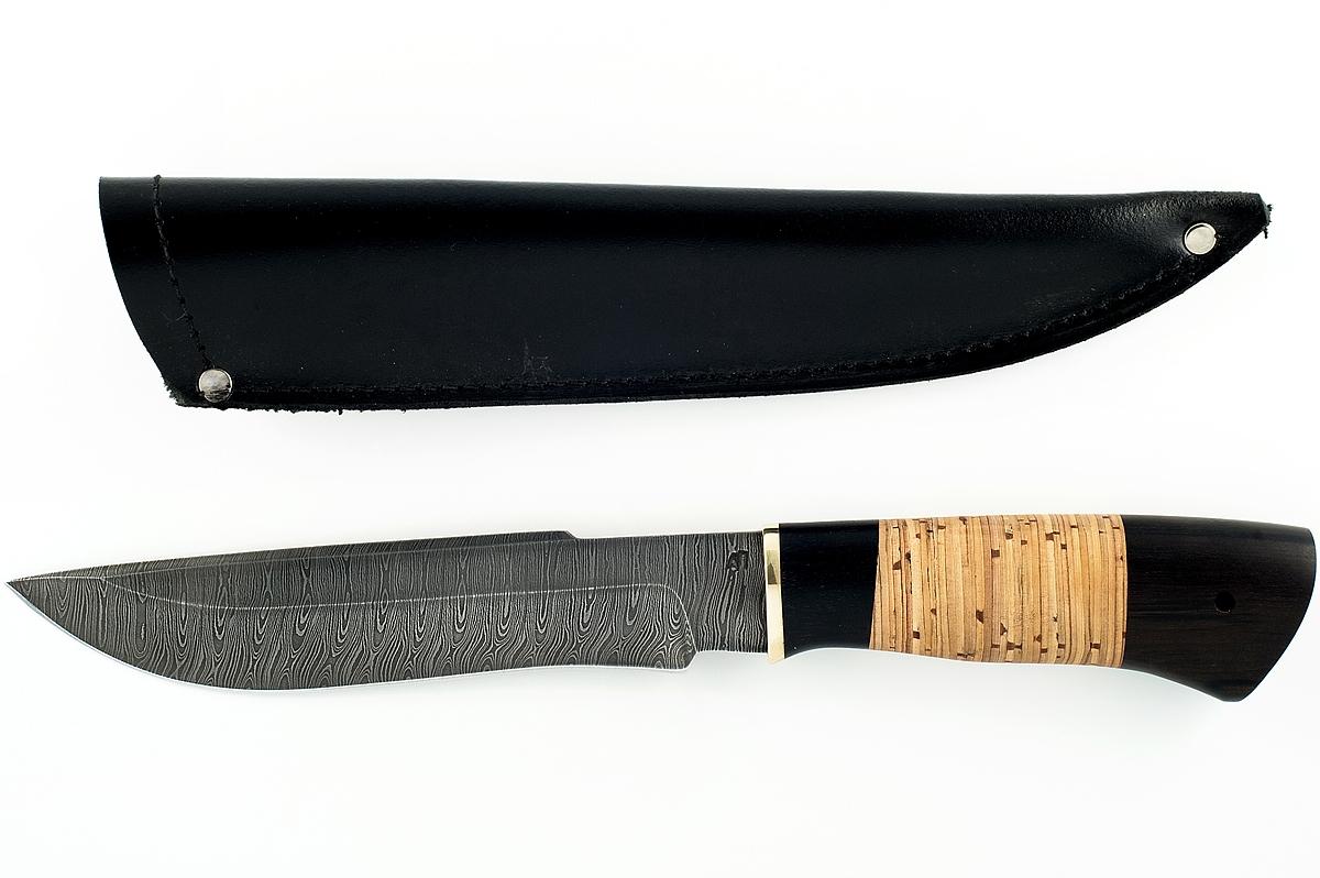 Нож Бизон-13 сталь дамаск граб и береста