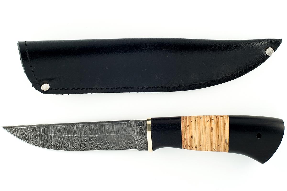 Нож Волк-3 сталь дамаск граб и береста
