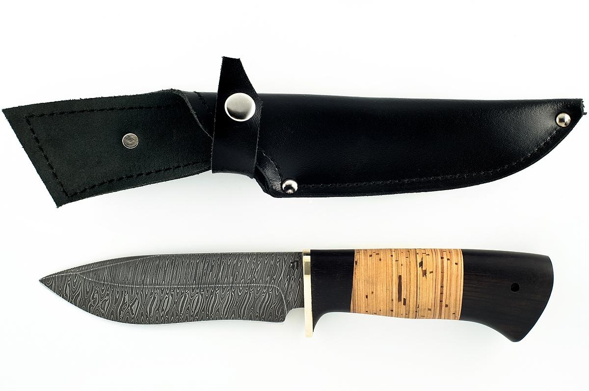 Нож Зубр-2 сталь дамаск граб и береста