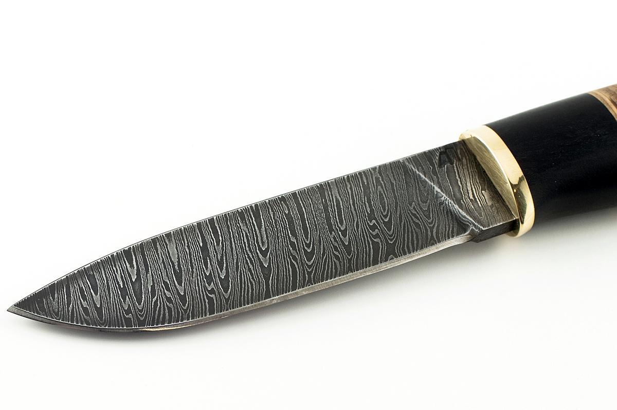 Нож Ласка-2 сталь дамаск граб и береста