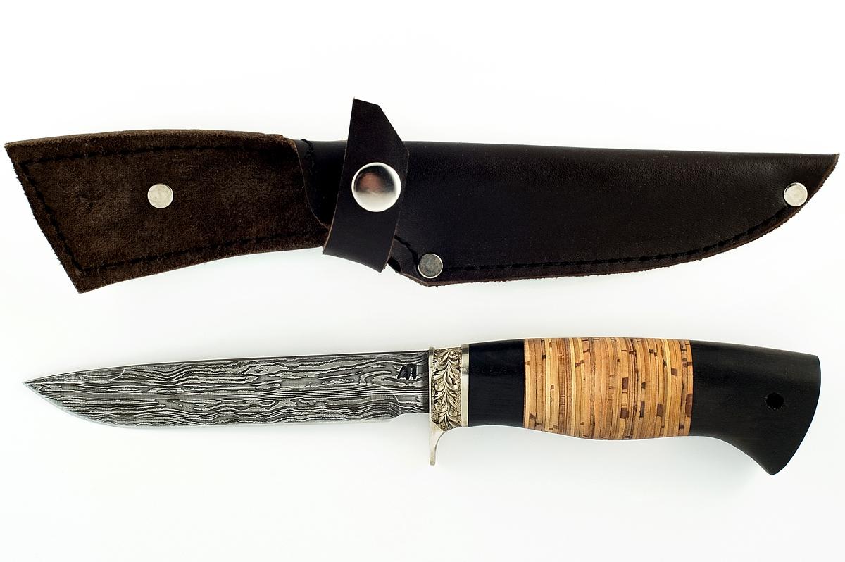 Нож НКВД сталь дамаск граб и береста