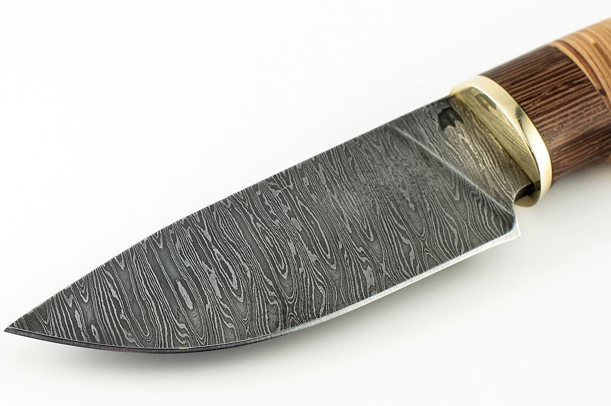 Нож Рысь сталь дамаск венге и береста