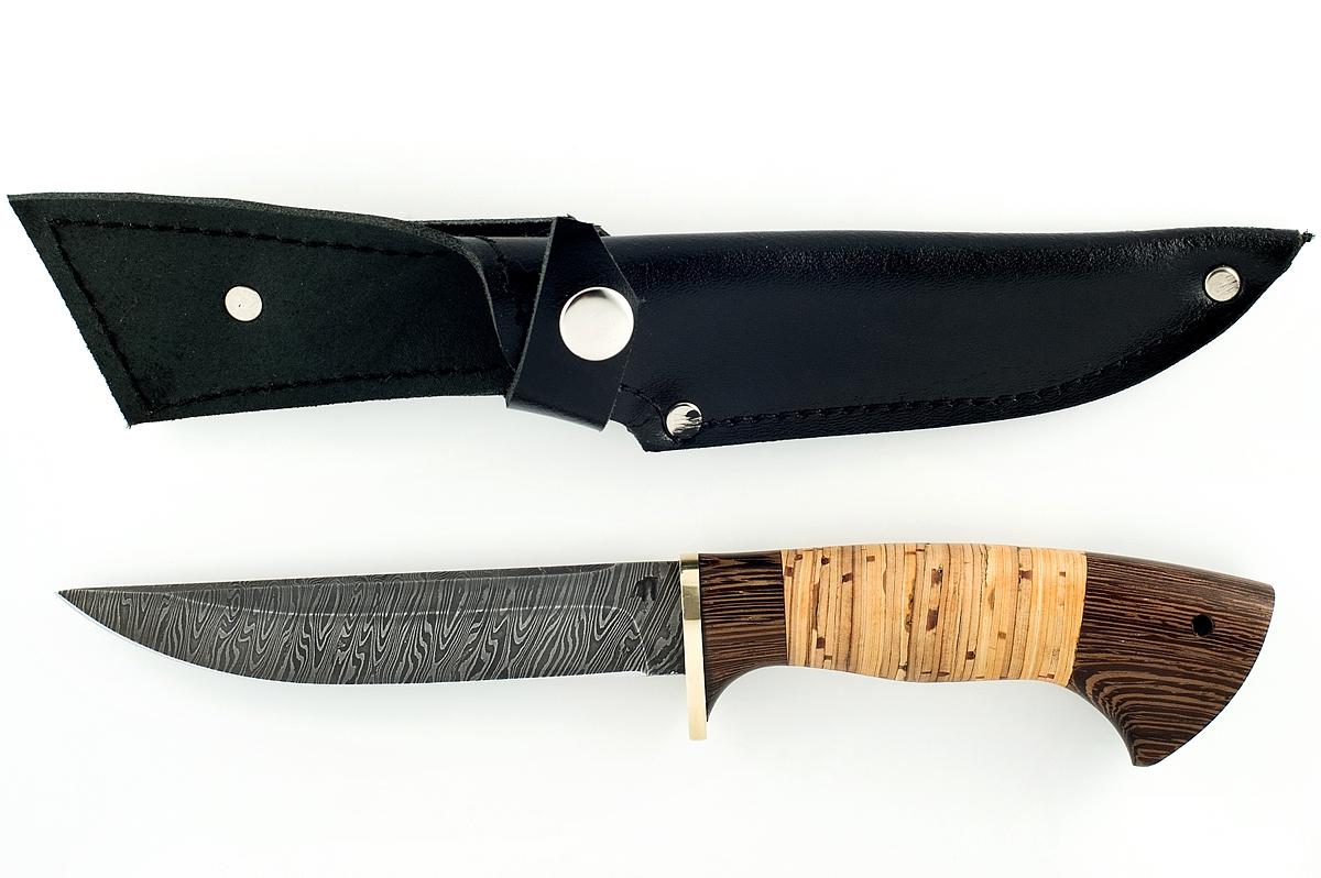 Нож Хорёк сталь дамаск венге и береста