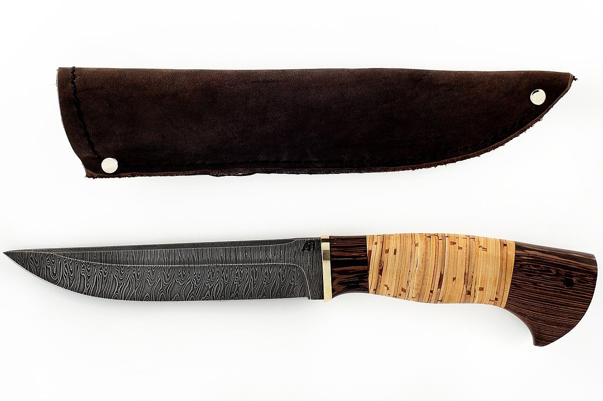Нож Волк-4 сталь дамаск венге и береста