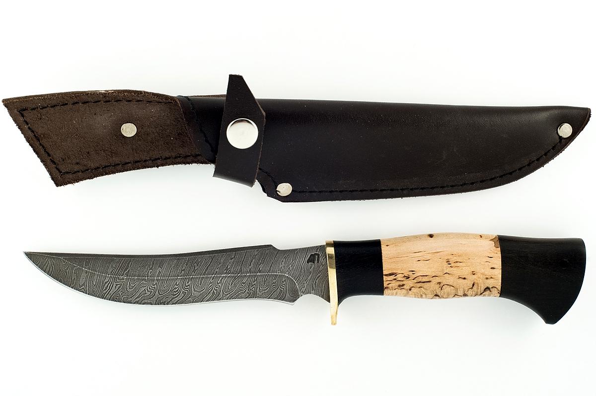 Нож Осётр-3 сталь дамаск граб и берёза