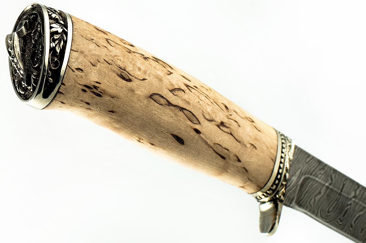 Нож Хорёк-2 сталь дамаск карельская берёза