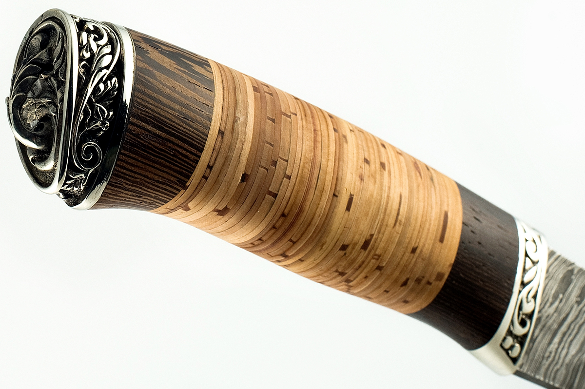 Нож Бизон-17 сталь дамаск венге и береста
