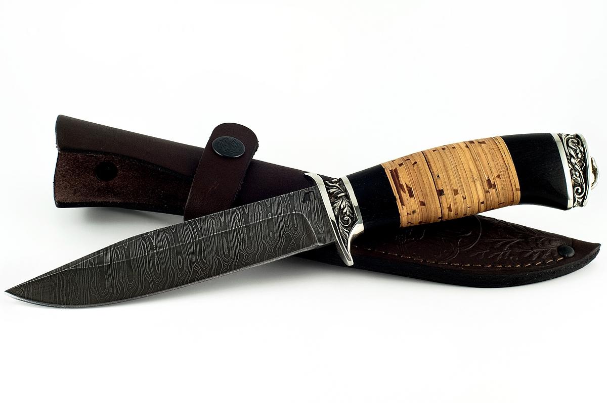 Нож Оса-5 сталь дамаск граб и береста